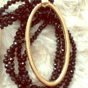 Beaded Necklace with Oval Pendant